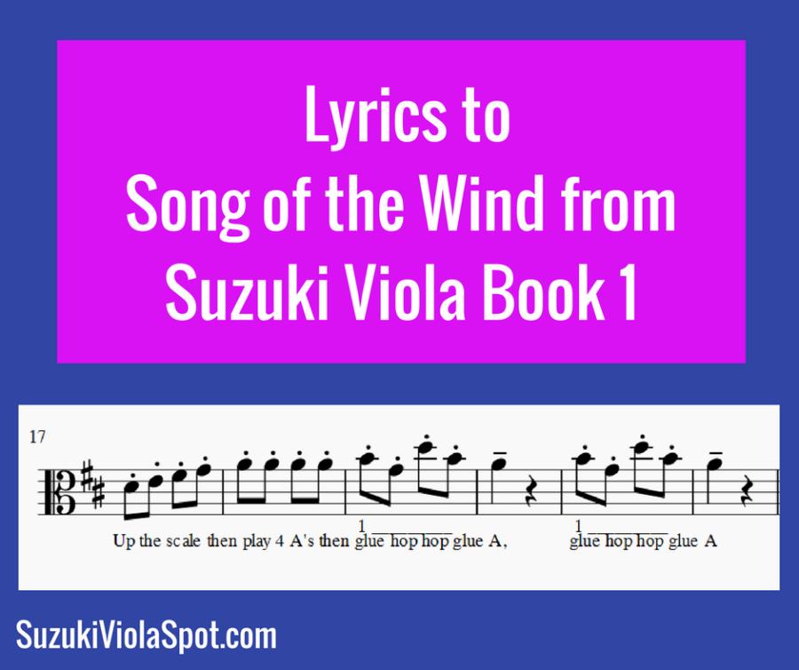 Blog Lyrics toSong of the Wind from Suzuki Viola Book 1